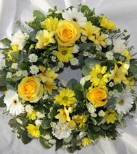 Sympathy Yellow Wreath