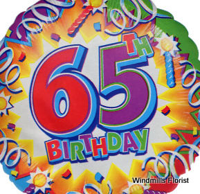 Happy 65th Birthday Single Balloon Windmills Florist
