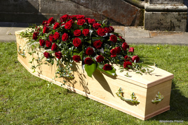 Funeral Tribute Roses Casket Spray