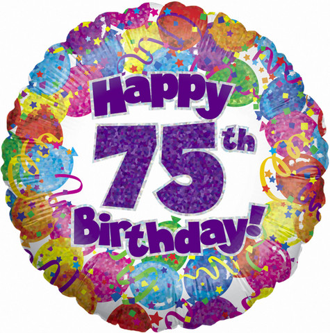 Happy 75th Birthday Single Balloon Windmills Florist