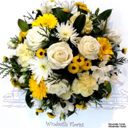 Funeral Posy, Yellow, Creams and whites.