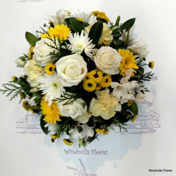 Funeral Posy,Yellow, Creams and Whites Shades.