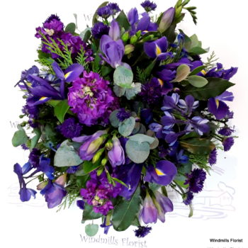 Funeral Posy, Blues and Purples.