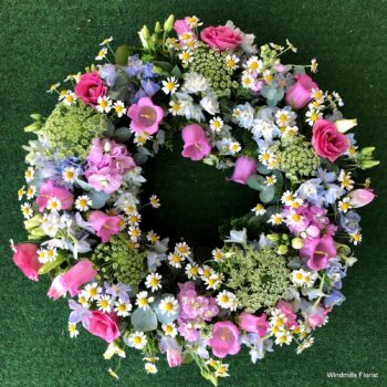 Funeral Wreath, Pastel shades.